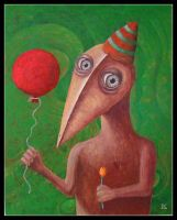 Woodman with red balloon by FrodoK