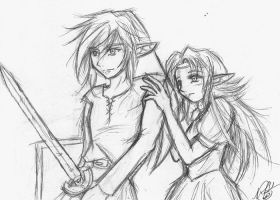 Oldschool Link and Zelda by HyruleMaster