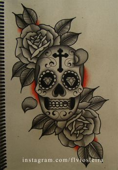 mexican skull roses by FraH