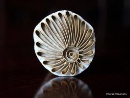 Handmade Indian Brass Textile Stamp:Flower by CharanCreations