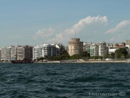Thessaloniki's White Tower seen from the water by Hansmar