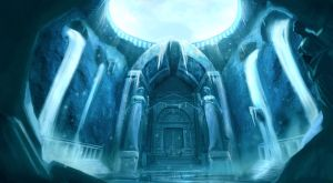 Snowy Temple Gate Environment by raikoart