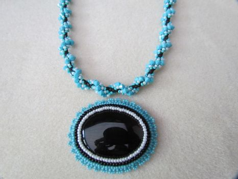 Turquoise and Black by Autumn-beads