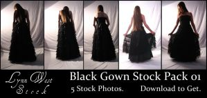 Black Gown Pack 01 by Lynnwest-Stock