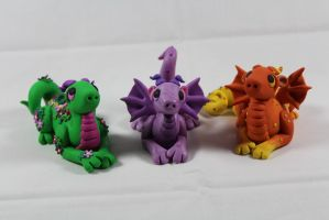 Polymer Clay Dragons by RaLaJessR