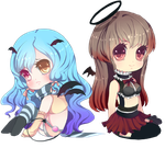 Chibi Commission: Celty and Sabrina by Andreia-Chan