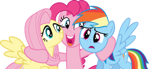 Group Hug MLP Vector - Fluttershy, Pinkie and RD by Vulthuryol00