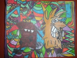 The Angry Beavers Design Artwork Drawing by NWeezyBlueStars23