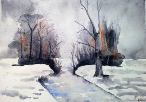 winter scene by rougealizarine