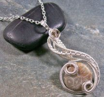 Fossil Coral Coriolis Pendant by HeatherJordanJewelry