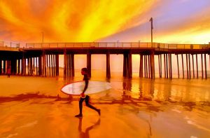 Pismo Beach Sunset Surfer2010 by robgbob