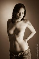 Topless In Jeans Sepia by BrianMPhotography
