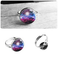 Handmade Resin Purple and Blue Nebula Silver Ring by crystaland