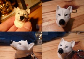 White Husky Head Pendant by spiritdaughter