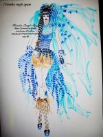 Blue feather outfit. by monikasingh