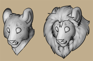 Lioden / Male and Female Lion P2U Avatar Base by rayxray