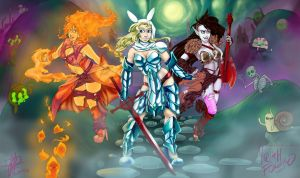 MTG playmat: Custom Adventure Time Babes for Hubby by LadyFitz