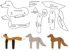 Jointed Wolf/Fox/Dog Pattern by BookThief17