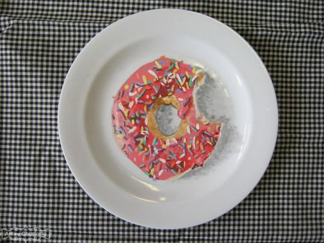 Pink Sprinkled Doughnut Painted on a Plate by ArtbyCharlotte