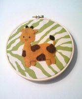 Gentle Giraffe Embroidery Hoop by msmegas