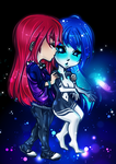 Chibi Commission: Sasha and Galaxy by graceyanneiseki