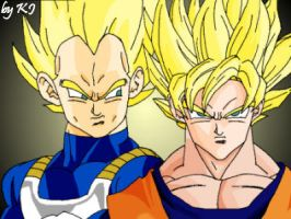 My first Vegeta and Goku by MissMinority
