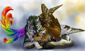 Syris and GrayWolf by Novawuff