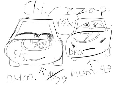 Disney Cars OC - Zap and Chi ref. by moonofheaven1