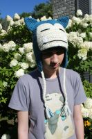 Snorlax inspired hat with tassels by Crochetri
