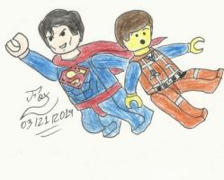 Lego Superman and Emmett Brickowski by FoxBluereaver