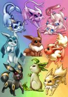 Eeveelutions by Kinky-chichi