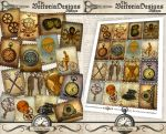 Printable Steampunk Stamps by VectoriaDesigns