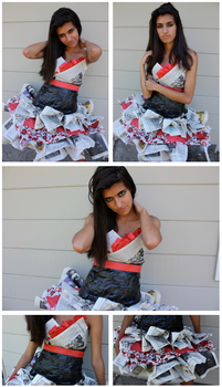 Newspaper dress by FlamingCupcake