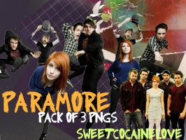 Paramore Pack of 3 pngs by SweetCocaineLove