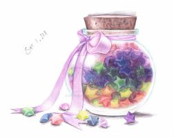 Jar of Paper Stars by an0nym0use99