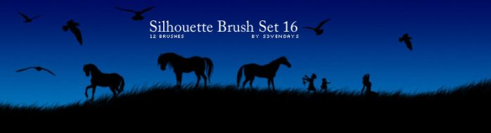 Silhouette Brush Set 16 by s3vendays