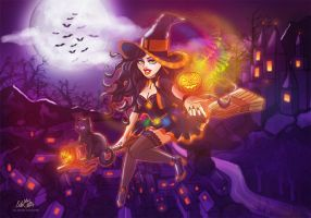 Halloween Witch and Magic Pumpkin by LilaCattis