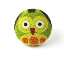Ring big large owl bird orange green funky funny by KooKooCraft