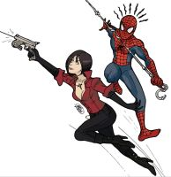 Ada Wong and Spider-Man by bleyerart