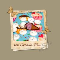 Ice Cream Brooch pin by BakedStitches