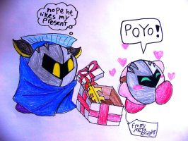 Metaknight's gift for Kirby by Rotommowtom
