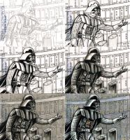 Darth Vader sketchcard process by Frisbeegod