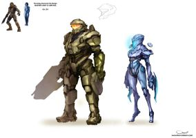 Master Chief and Cortana Re-design by DarrenGeers