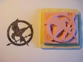 Mockingjay Pin rubber stamp by dragonflycurls