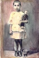 girl with doll by cannibol