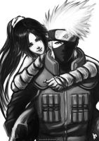 Kakashi and Yoruichi by borjen-art