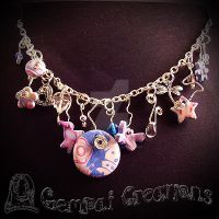 Handmade Polymerclay Pastel Blue and Pink Necklace by Gempai-Creations
