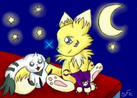 Renamon and Terriermon by Silver-Fox-Kitsune