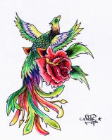 Colored phoenix whit Rose by Drocel
