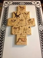 Poke Pyrography collection  the eevees + cyndaquil by tntwooddesign
